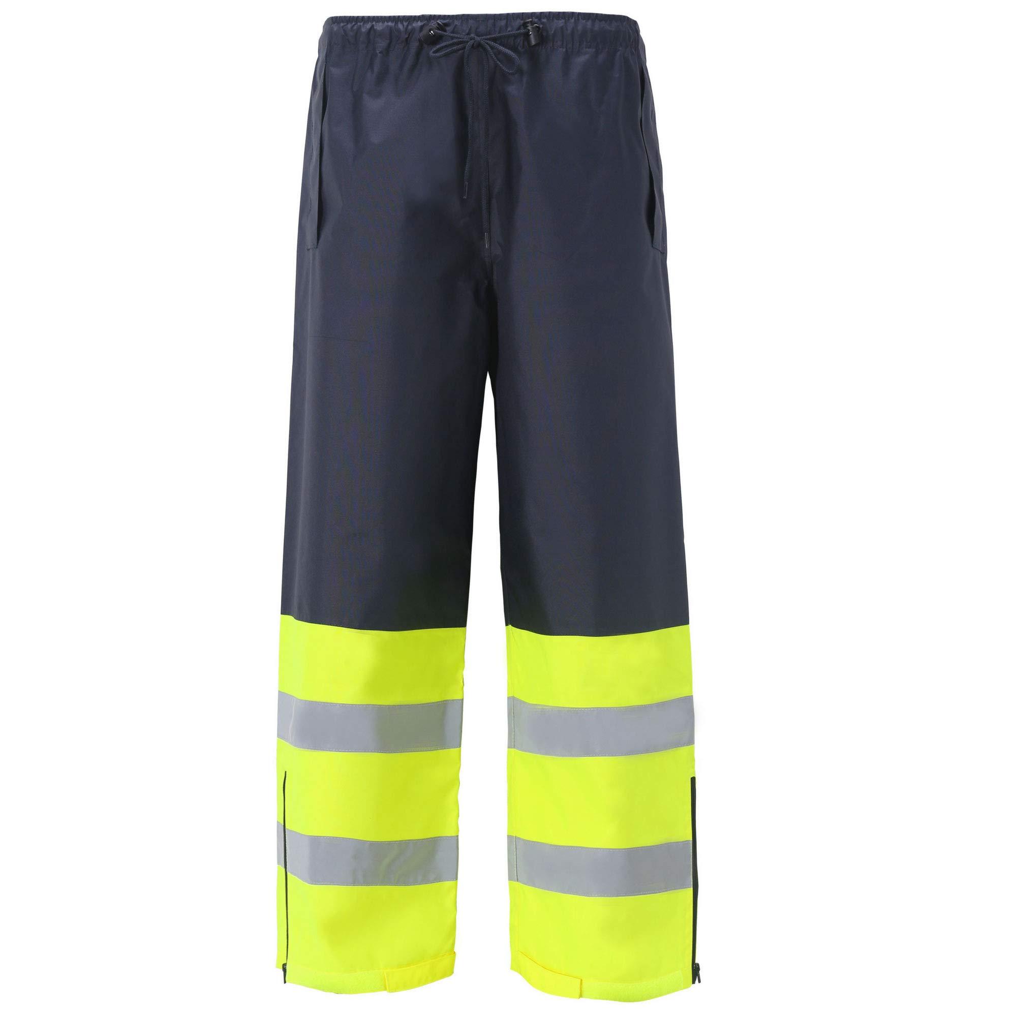 High Viz Rain Pants for Men and Women Waterproof Work Wear Water Resistant Ansi Class E Two Tone (Medium, Navy Blue, 1 Piece)
