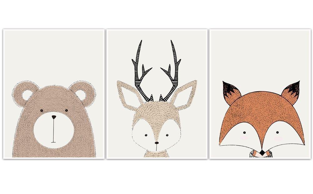 Woodland Creatures Wall Art Nursery Decor - set of 3