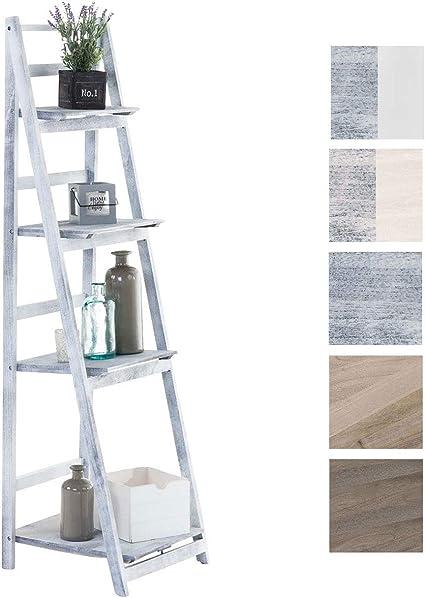 CLP Estantería Escalera Plegable Kirsten En Estilo Rústico I Estantería Librería De Madera con 4 Estantes, Color:Gris: Amazon.es: Hogar