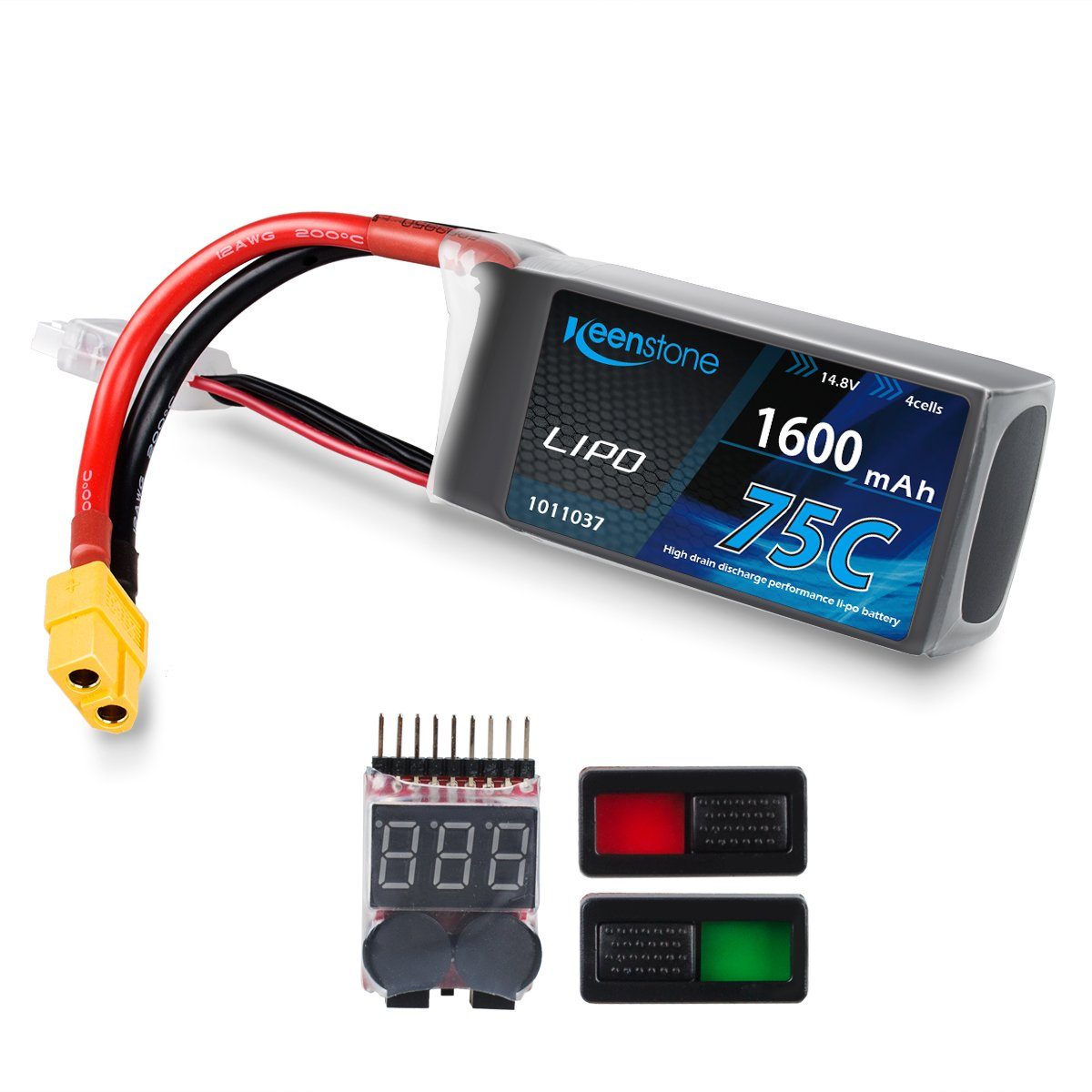 Keenstone LiPo Battery Pack 1600mAh 75C 4S 14.8V with XT60 Plug w/ Voltage Meter & Battery Power Indicator for RC Boat Heli Airplane UAV Drone FPV