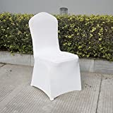 100 PCS White Banquet Chair Cover Soft Polyester Spandex Lycra Cover for Wedding Banquet Anniversary Party Decoration (US STOCK)