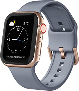 Adepoy Compatible with Apple Watch Bands 44mm 42mm, Soft Silicone Sport Wristbands Replacement Strap with Classic Clasp for iWatch Series SE 6 5 4 3 2 1 for Women Men, Blue-Grey 42/44mm