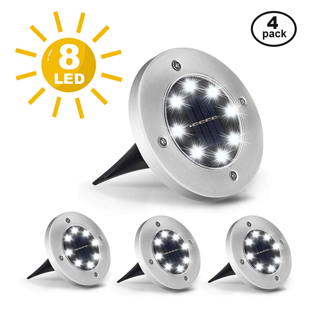 LOBKIN Solar Ground Lights mit 8 LED, 4er Pack wasserdichte helle Außenlampen für Gartenlandschaftspfad Deck Yard Patio Einfahrt Rasen Veranda (Weiß)