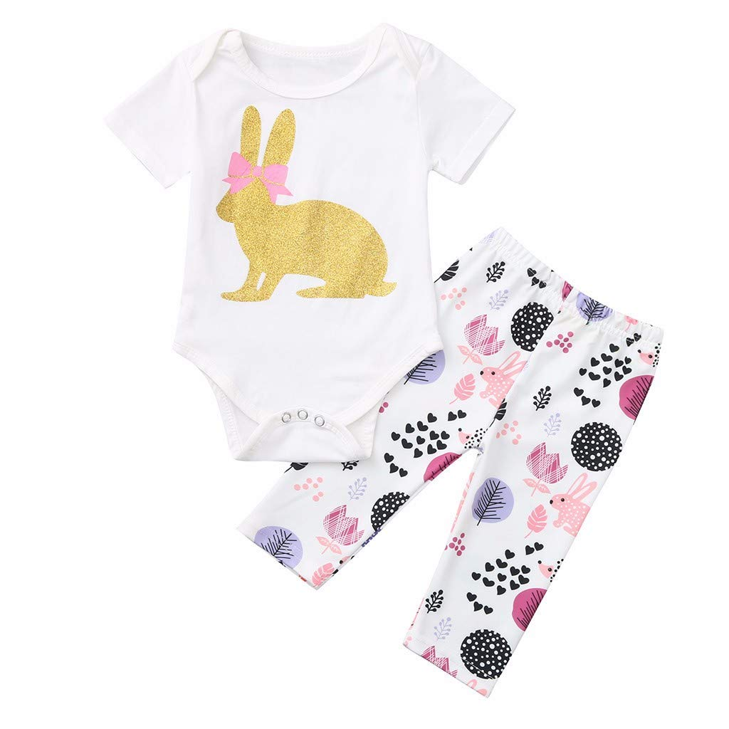 RAINED-Summer Baby Girl Outfits Set Clothes 2 Pieces Cotton Short Sleeve Tops Pants Printed Bodysuit