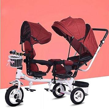 7d250e502 CN Doble Triciclo Doble Asiento Infantil Bicicleta Cochecito de Bebé Doble 1-7  Años Coche de Bebé, Rojo,1: Amazon.es: Deportes y aire libre