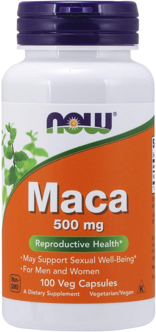 NOW Supplements, Maca (Lepidium meyenii) 500 mg, For Men and Women, Reproductive Health*, 100 Veg Capsules