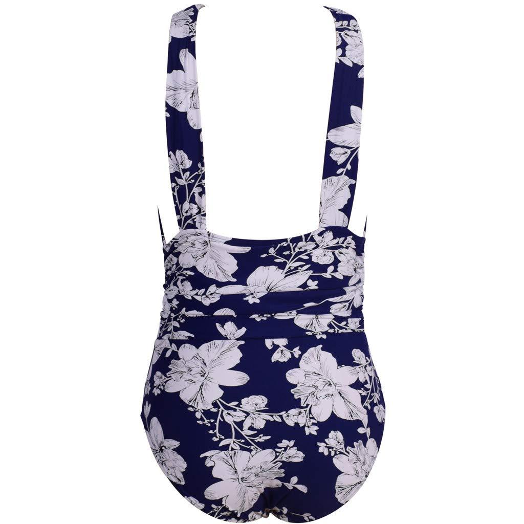 Tummy Control Swimsuit RTYou Women One Piece High Waist Floral Padded Backless Bikini Halter Tankini Swimwear