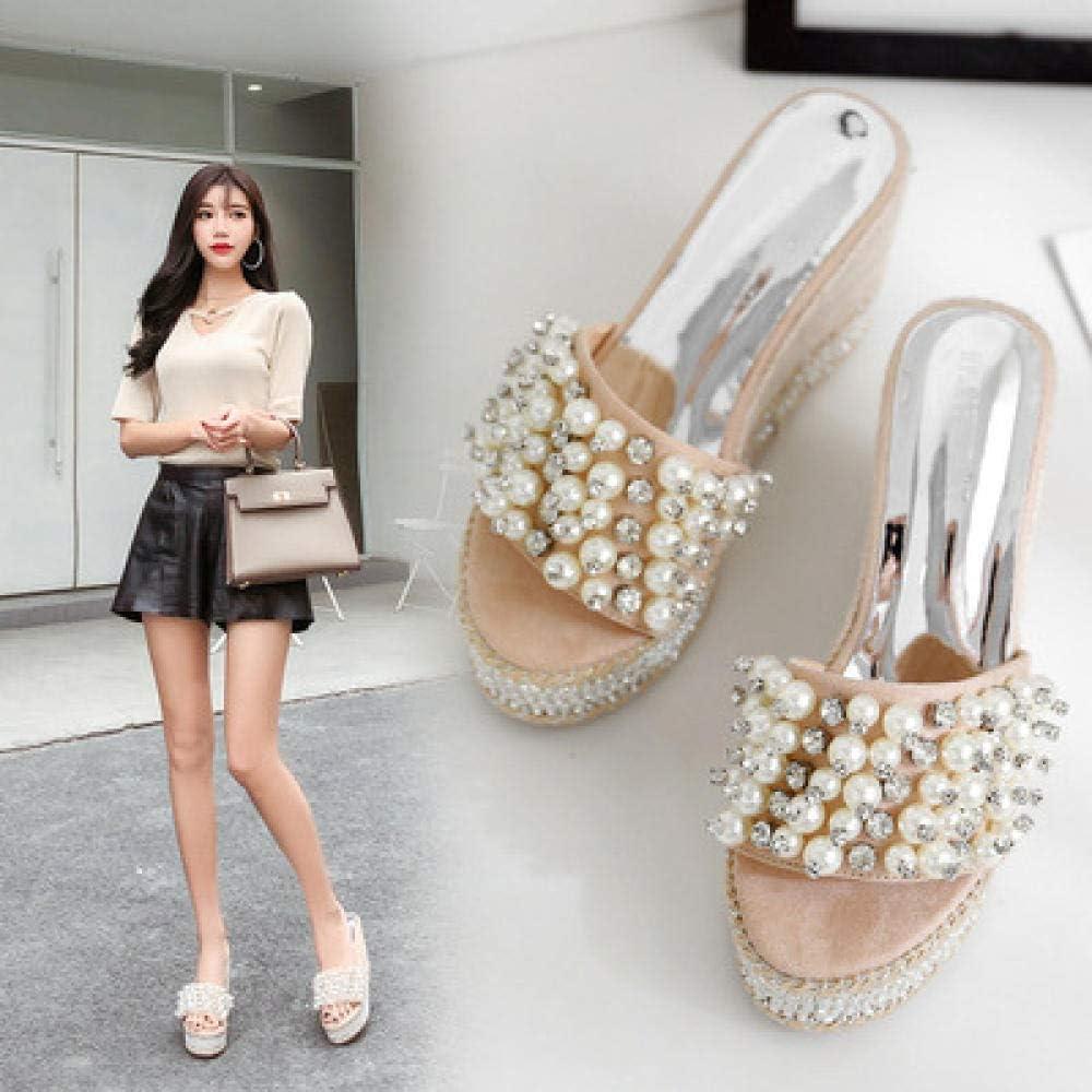 FYSY Zapatos de casa de secado rápido, sandalias de playa de cristal perla y zapatillas, pendientes con chanclas, color albaricoque, 35, cuña baja sin cordones en el dedo del pie fangkai77