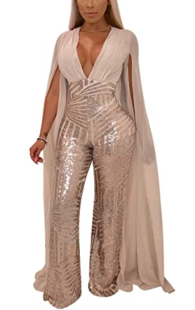 6501de1da07 Amazon.com: LKOUS Women Sexy Deep V Neck Sequin Long Sleeve Backless Cape  Bodycon Jumpsuits Elegant Romper Plus Size: Clothing
