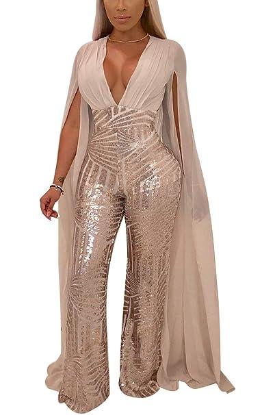 Amazoncom Lkous Women Sexy Deep V Neck Sequin Long Sleeve