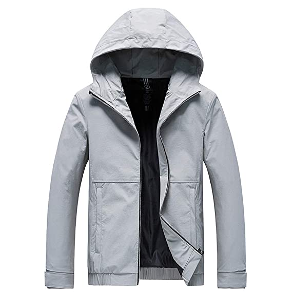 Windbreaker Hooded Casual Jackets for Men Grey XXL