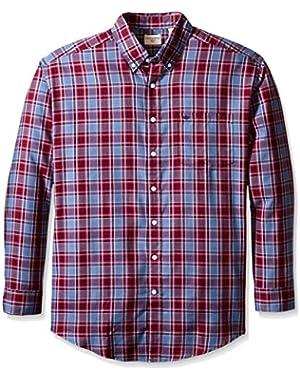 Men's Big-Tall Long Sleeve Twill Plaid Button Down Collar Shirt