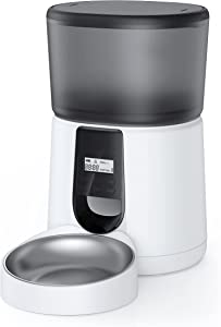 KATALIC Automatic Cat Feeder Metalic Automatic Pet Feeder for Cat and Dogs Timed Feeder with Voice Recorder 4L Dry Food Dispenser Stainless Steel Bowl with Programmable Meal & Portion