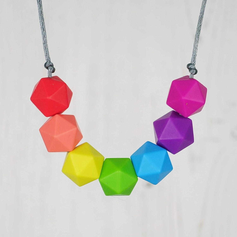 Rainbow Teething Breastfeeding Necklace. Geometric Jewellery. UK Handmade. GEO
