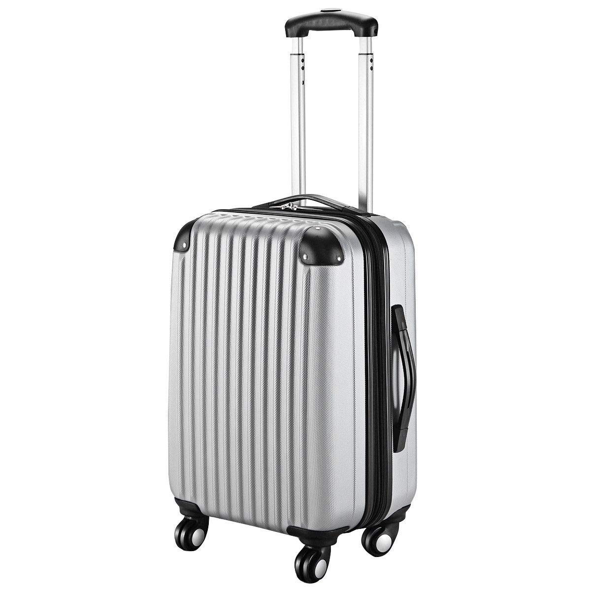 Goplus 20'' ABS Carry On Luggage Expandable Hardside Travel Bag Trolley Rolling Suitcase GLOBALWAY (Grey)