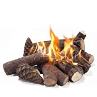 Skypatio Large Ceramic Woods Fireplace Logs, 9pcs Set Fireplace Decoration for All Types of Indoor,Outdoor,Gas Inserts…