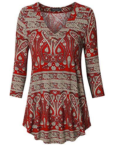 (Vinmatto Women's 3/4 Sleeve V Neck Casual Flowy Tunic Top(XL,Multi)