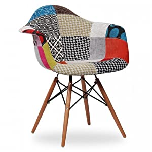 Red Oak - Kevin - Multicolor DAW Patchwork Accent Chair - Stylish | Designer | Accent | Study | Lounge | Dining | Multicolor | Cafe