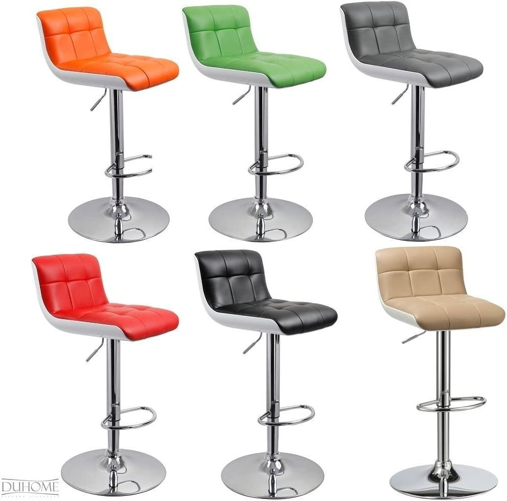 Duhome's 0679 Set of 2 Bar stool in BLACK + WHITE with UNIQUE DESIGN, height adjustable