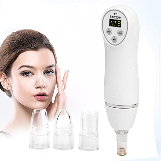 Microdermabrasion Kit,CkeyiN [6 Tips] Portable Digital Diamond Microdermabrasion Pen Facial Skin Care Vacuum Massager Beauty Device,Exfoliates and Resurfaces the Skin
