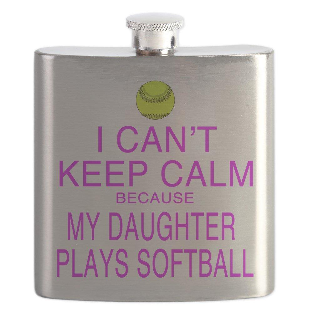 CafePress – 私の娘Plays Softball – ステンレススチールフラスコ、6オンスDrinkingフラスコ   B01IUFFWGI