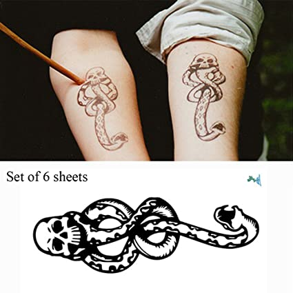 Yeeech 6 Sheets Harry Potter Magic Mantra Snake Skull Death Easters Dark  Mark Designs Temporary Tattoos