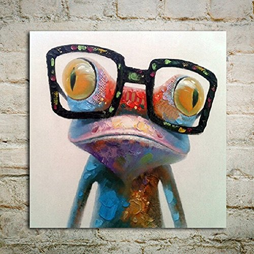 Everfun Art Hand Painted Large Abstract Oil Painting Happy Frog with Glasses Modern Wall Art on Canvas Contemporary Artwork For Bedroom Living Room Stretched Framed Ready to Hang by Everfunart
