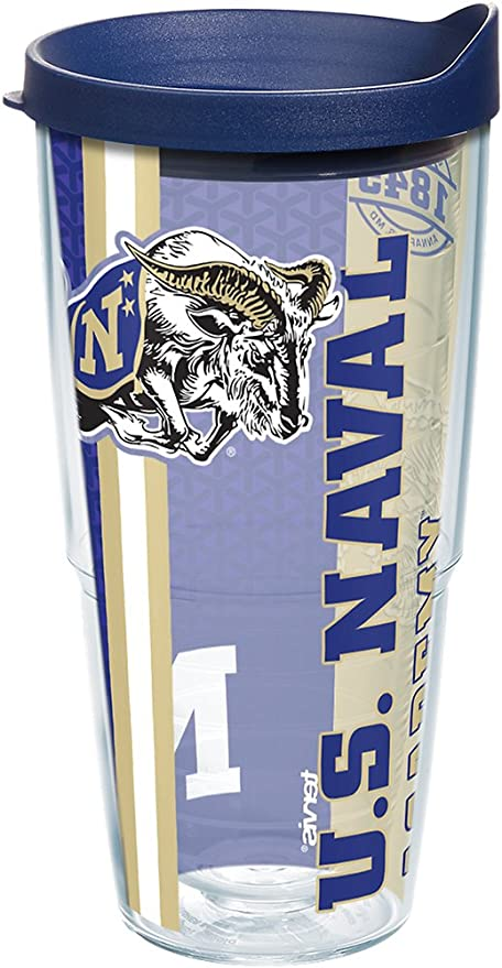 Clear Tervis 1229682 Navy Midshipmen College Pride Tumbler with Wrap and Navy Lid 24oz