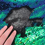 1 Yards Sewing Sequin Fabric Mermaid Flip Up Sequin Reversible Sparkly Stretch Fabric For Dress Clothing Making Home Decor (Mermaid Green & Black)