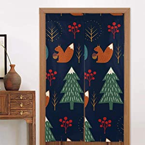 SLHFPX Noren Doorway Curtain Squirrel in Forest Japanese Noren Doorway Curtain Long Tapestry Door Curtains Decor Dividers for Home Kitchen Bedroom Bathroom Living Room Office
