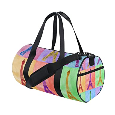 Image Unavailable. Image not available for. Color  AURELIOR Bright Colorful  Eiffel Tower Gym Duffle Bag ... 2be5daf9d14b3
