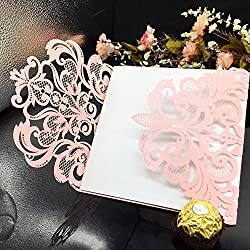 WOMHOPE® 50 Pcs - Flower Hollow Laser Cut Lace Shimmer Wedding Invitation Party Invitations Cards Birthday Invitations Cards Wedding Favors (Pink & White)