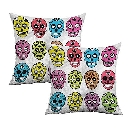 Khaki home Skull Square Pillowcase Protector Mexican Halloween Tradition Square Pillowcase Protector Cushion Cases Pillowcases for Sofa Bedroom Car W 24