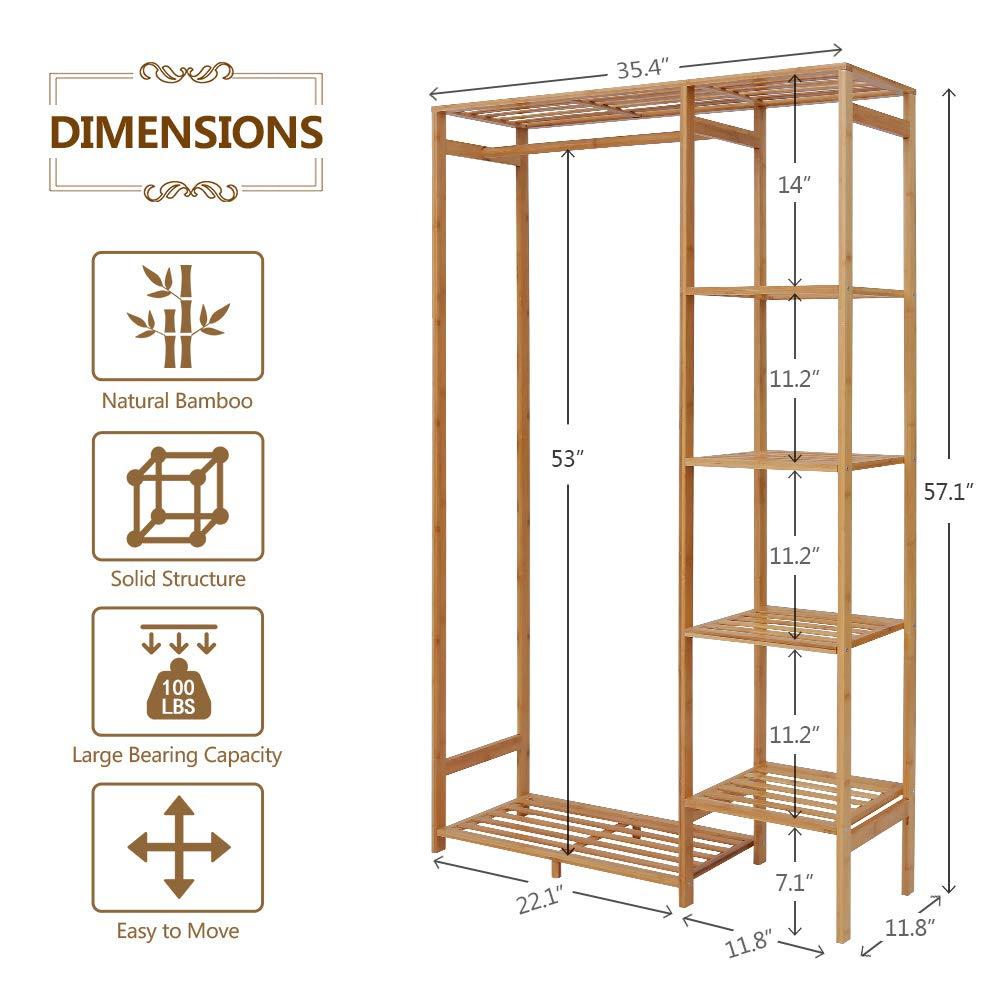 Amazon.com: Ufine - Perchero de bambú de 6 niveles con ...