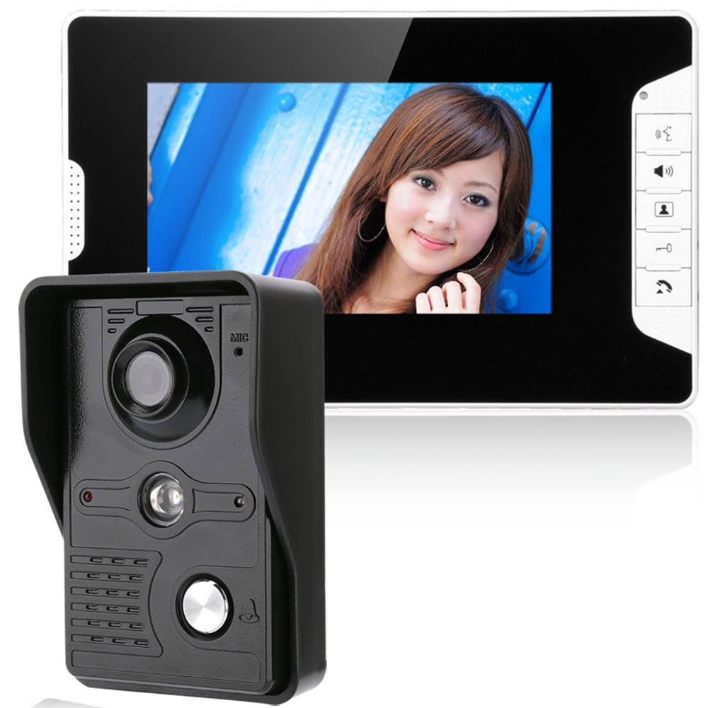 ENNIO 7 Inch Video Door Phone Doorbell Intercom Kit 1-camera 1-monitor Night Vision with IR-CUT HD 1000TVL Camera