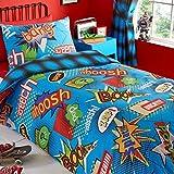 Bang Pow Comic Boys Kapow Kids Blue Reversible Single Duvet Cover Quilt Bedding Set