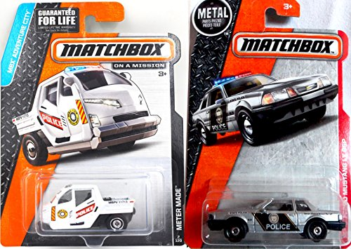 (Matchbox 1993 Ford Mustang LX SPP Highway Patrol 66 2016 Pursuit Car Heroic Rescue Team State Police - & New Model Meter Made Police Vehicle #2 in Protective Cases)
