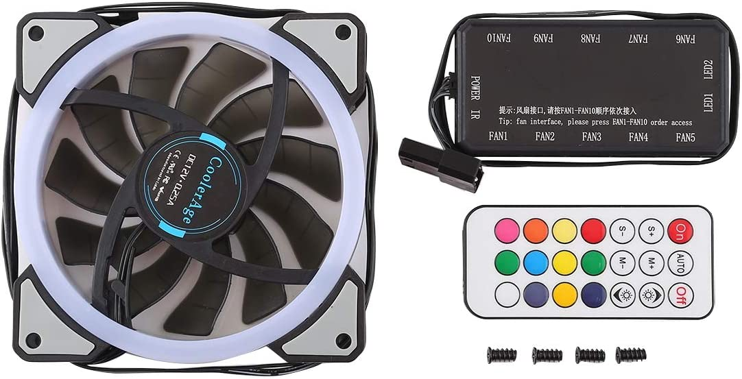 0.25A 2500PRM Remote Cotrol Computer Cooler Cooling Case Fan with Adjust LED The fan is reliable in quality and has a long service life. 9 inch 9025 2-pin Computer Cooling Fan 3 PCS CoolerAge DC 12V