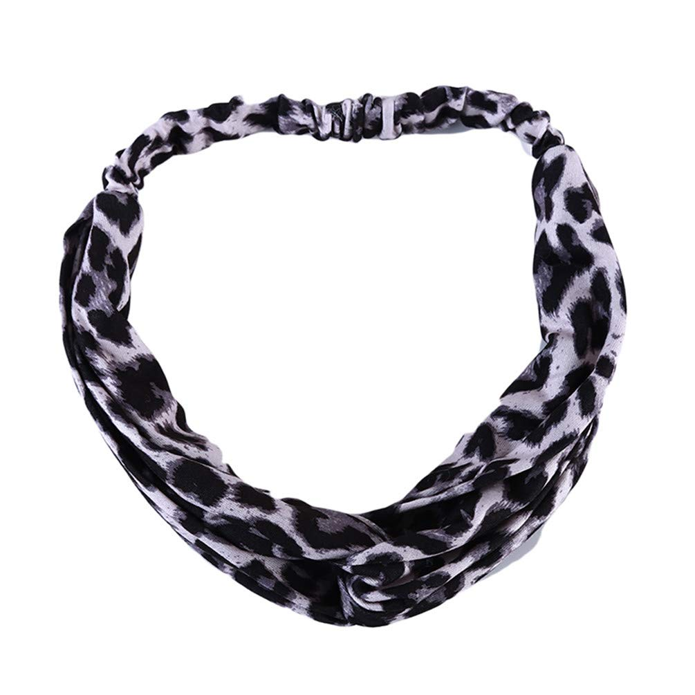 LANWF Leopard Printed Headband Cute Yoga Running Sport Travel Twisted Headbands Soft Elastic Turban Cross Head Wrap Hair Bands,Gray