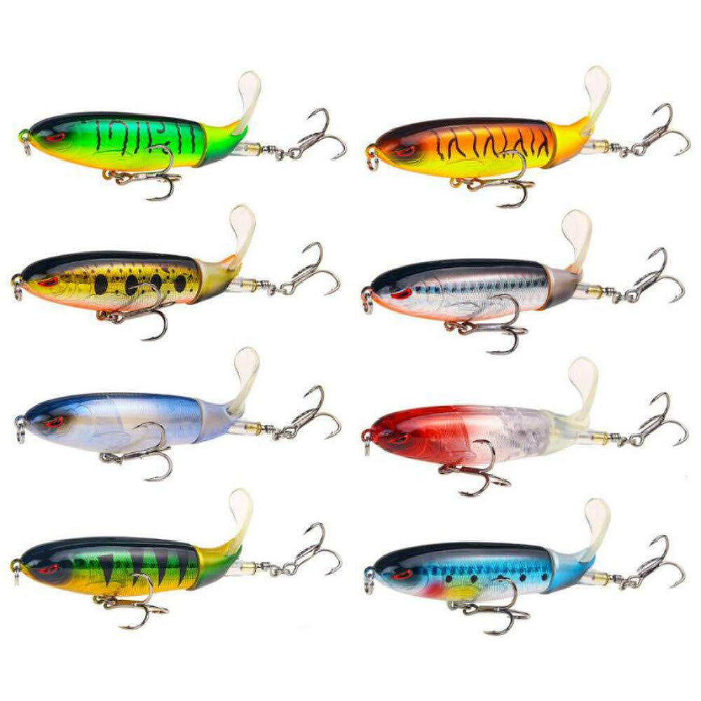 GUFIKY Fishing Lures Whopper Plopper 4.0 inch/0.5 oz with Rotating Spins Tail for Bass,Trout ,Walleye,Pike and Musky Topwater Floating Hard Baits Swimbaits with Barb Treble Hooks by GUFIKY (Image #2)