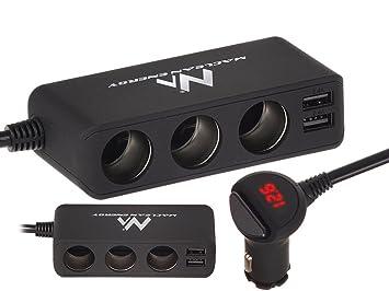 Cargador de coche y voltímetro con tres entradas para enchufe de encendedor  y 2 entradas USB 4,8 a 5 V. Para el coche.  Amazon.es  Coche y moto ad0101052603