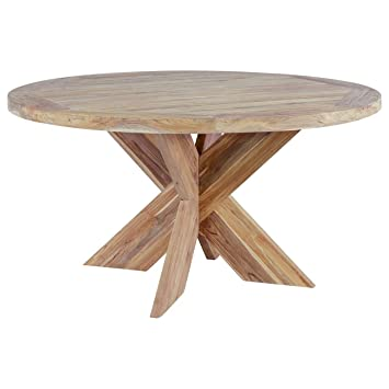 OUTLIV. Table Ronde en Bois Massif Quantum Design Table de Jardin ...