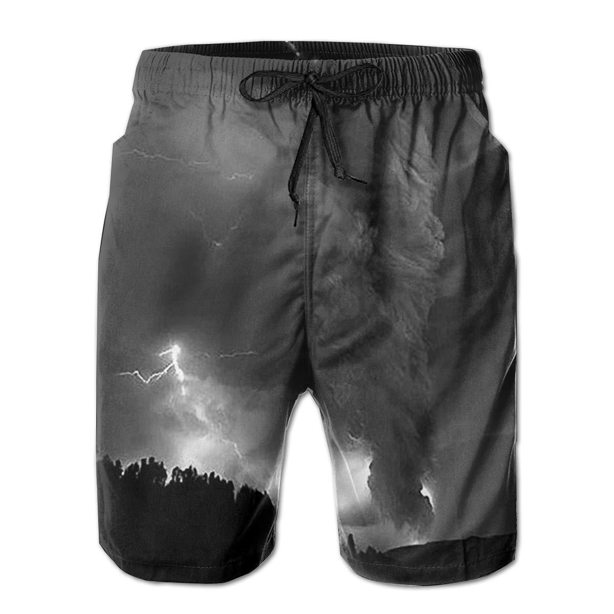 Mens Swim Trunks Black Tornado Quick Dry Beach Board Shorts with Mesh Lining