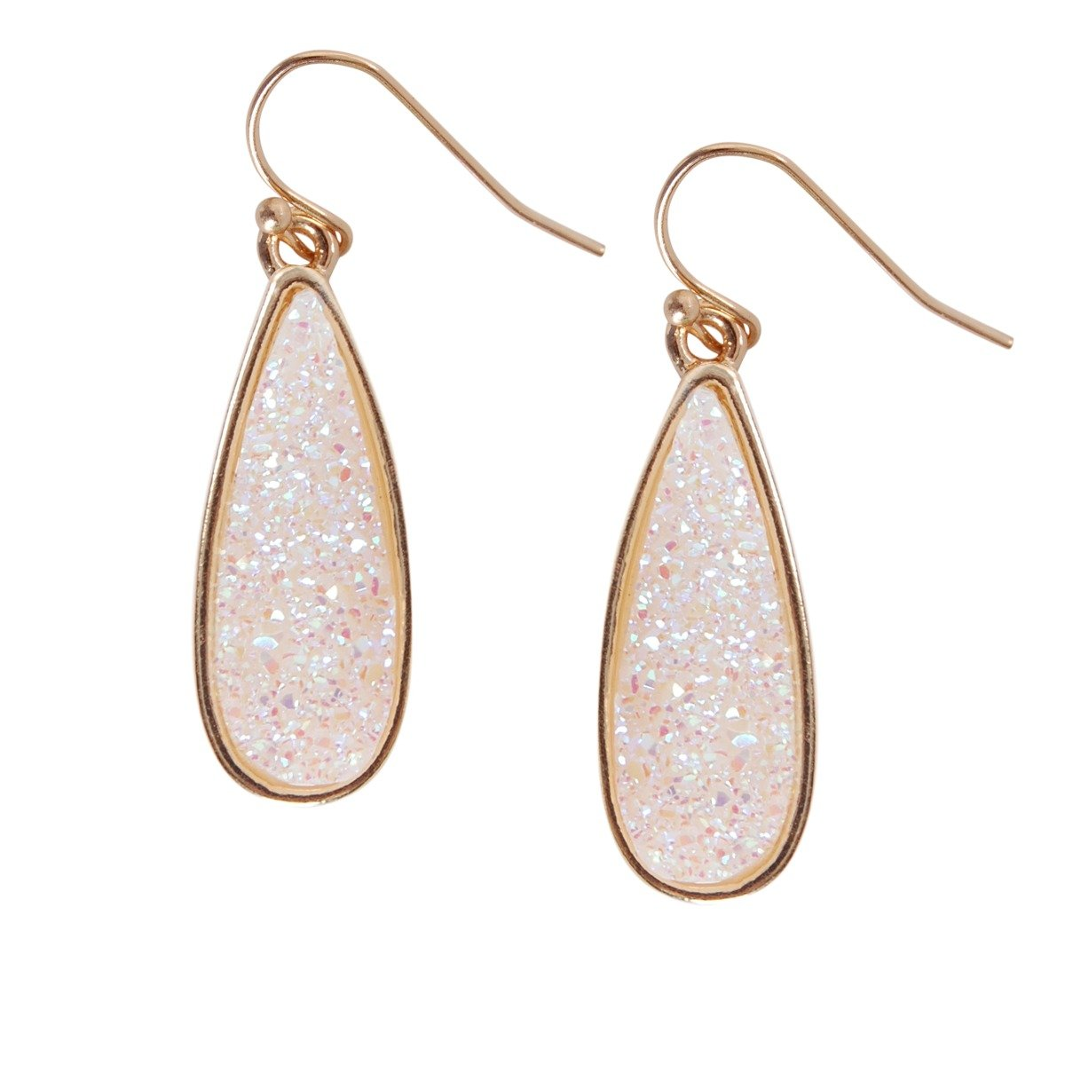 Humble Chic Simulated Druzy Drop Dangles - Sparkly Long Teardrop Dangly Earrings, Simulated Opal, Sparkly Pearly White, Opalescent, Simulated Moonstone, Gold-Tone