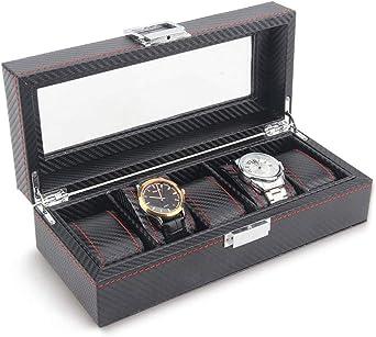0LL Estuche para Relojes Caja con 5 Compartimentos para Relojes, joyería, Fibra de Carbono Hebilla Metálica para Guardar Relojes en el Hogar, Viajes, Negocios (Caja para 5 Relojes) (Color : Black): Amazon.es: Relojes