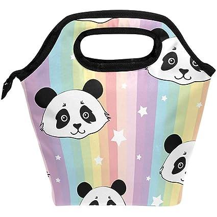 e73d6d69e Amazon.com - Johnnie Lunch Bag Cute Panda Rainbow Stripe Insulated ...