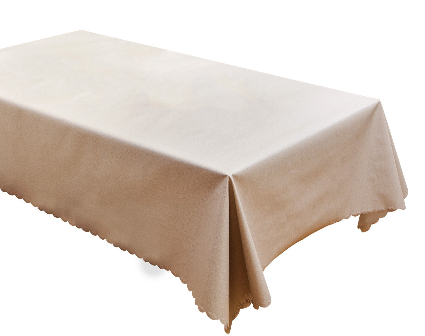 FEOYA Oil Cloth Vinyl Tablecloth Outdoor Tablecloths Durable Dust-proof Everyday Cloth for Table Natural 53 x 87 Inch