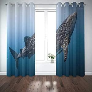 EMMTEEY 52X84 Curtains 2 Panels Whale Shark Very Near Looking You Underwater in Does Not Attack Humans Papua It Window Curtain Panels for Living Room Bedroom Décor