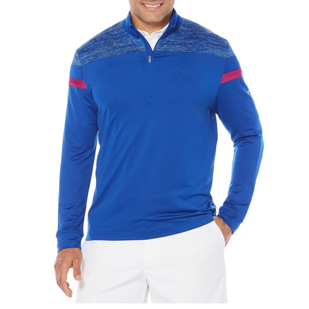 Callaway Men's Opti-Therm Long Sleeve 1/4 Zip Shoulder Print Knit Jacket, Small, Surf The Web