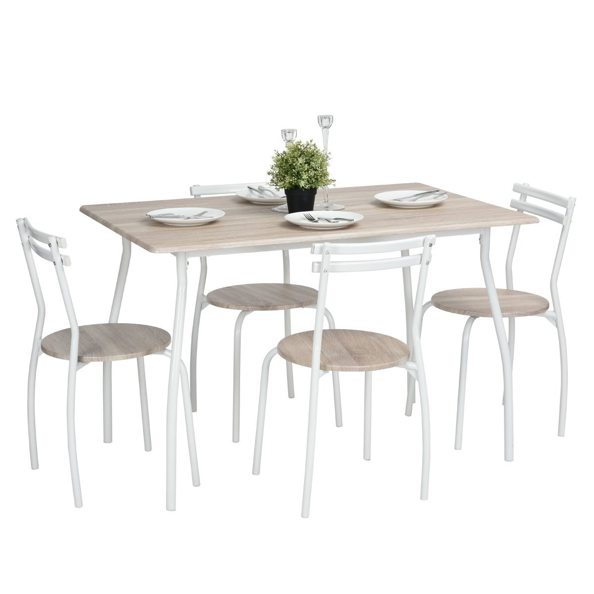 5pcs Dining Table Set Kitchen Furniture Kitchen Table Rectangle Dining Table with 4 Round Dining Chair Dinning Set (Beech Colour) FurnitureR